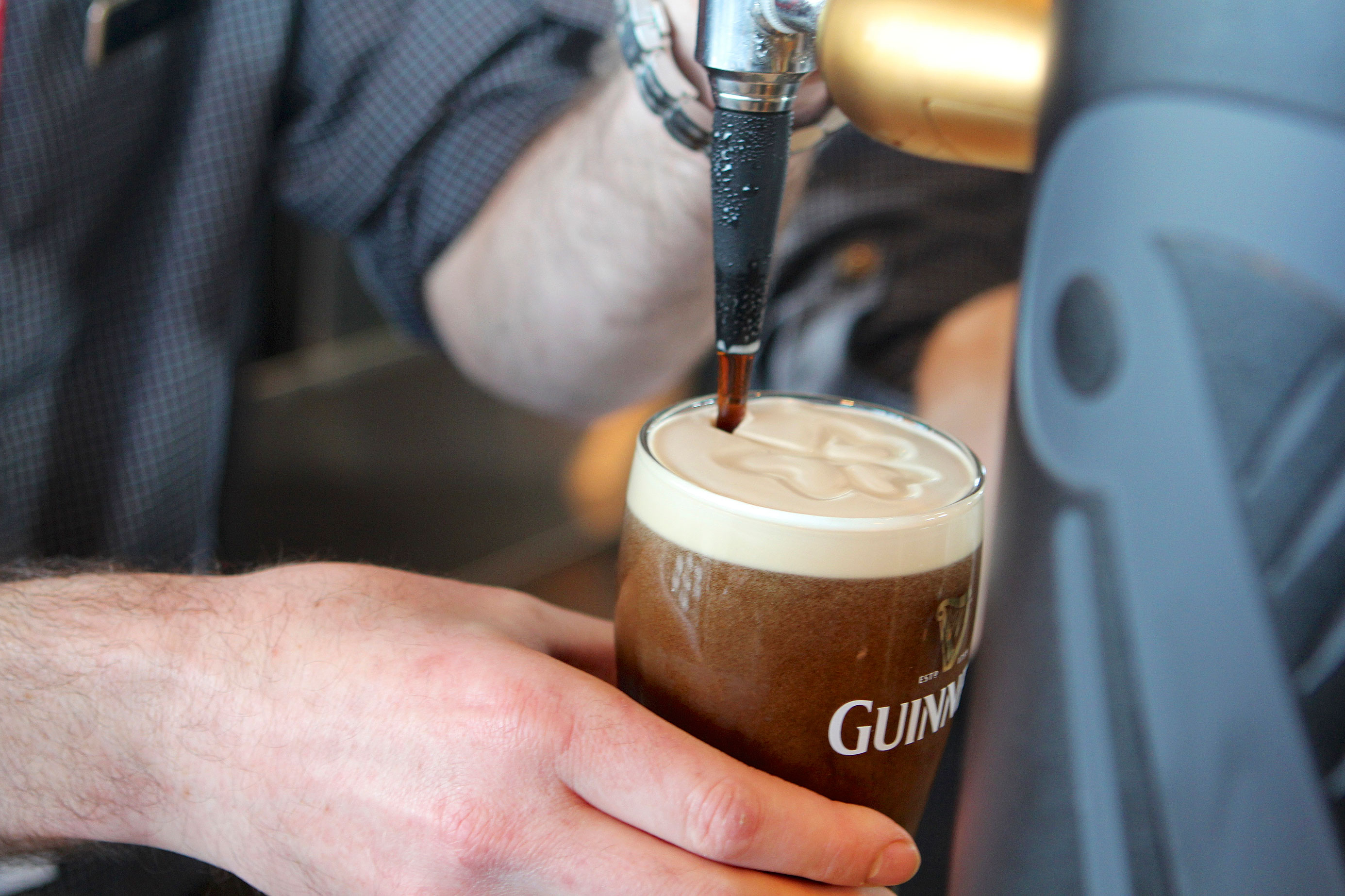 A perfectly poured pint at the Guinness Storehouse Sky Bar