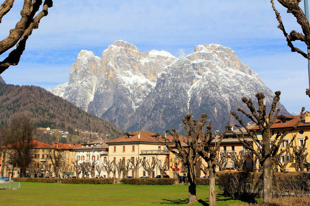 Dolomite Mountains Surround the Capital City of Agordo