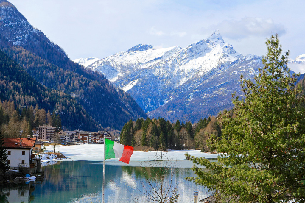 Italian Flag Flies Over Lago di Alleghe
