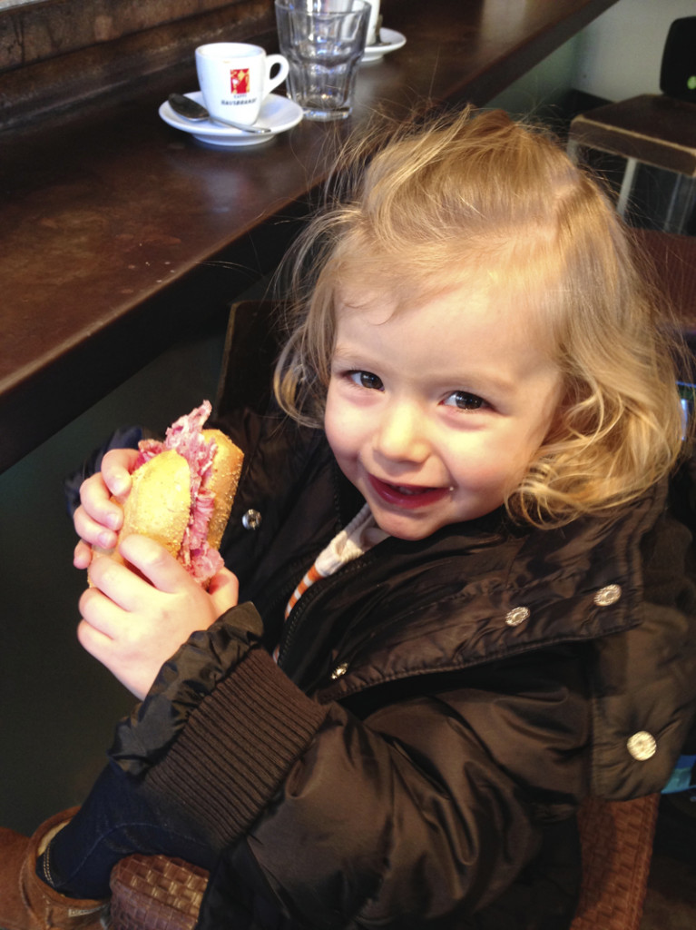 Julia insisted on stopping for a mid-morning salami sandwich