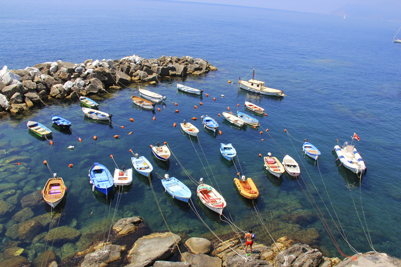 Fishing boats tied off in Riomaggiore