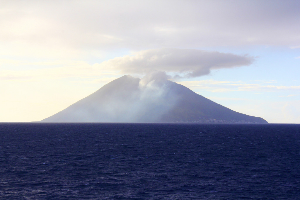 A dormant volcano visible from the ship while we sailed past Sicily