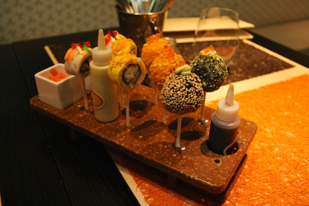 Sushi Lollipops - Nigiri Sushi, Soy Center, Wasabi Mayo & Pickled Ginger-Radish Salad