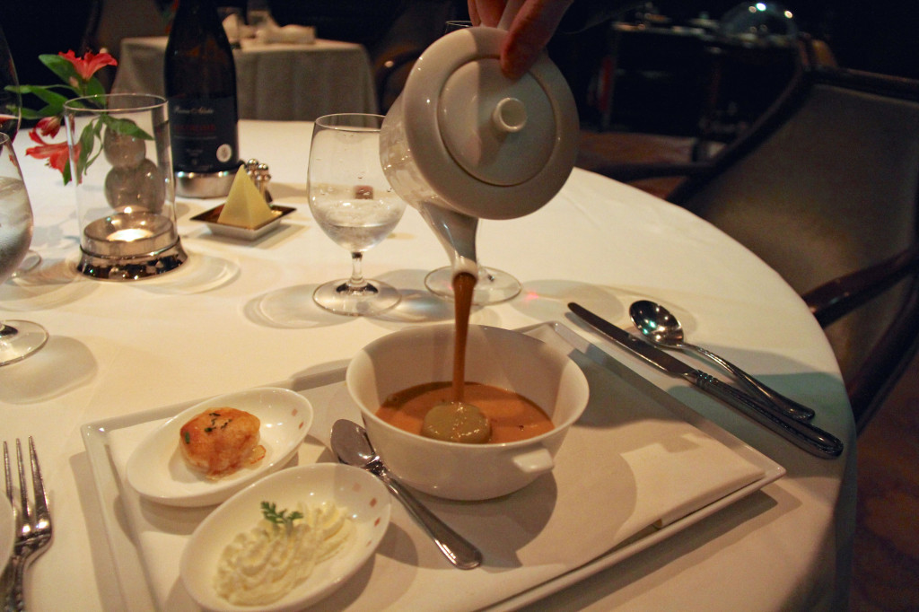 The lobster bisque had a wonderful table side presentation