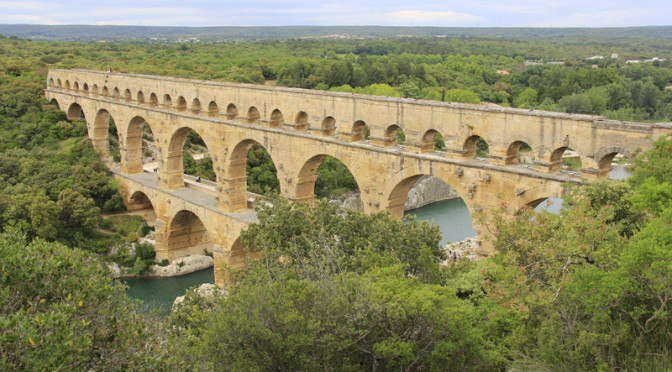 The Pont du Gard in the French countryside