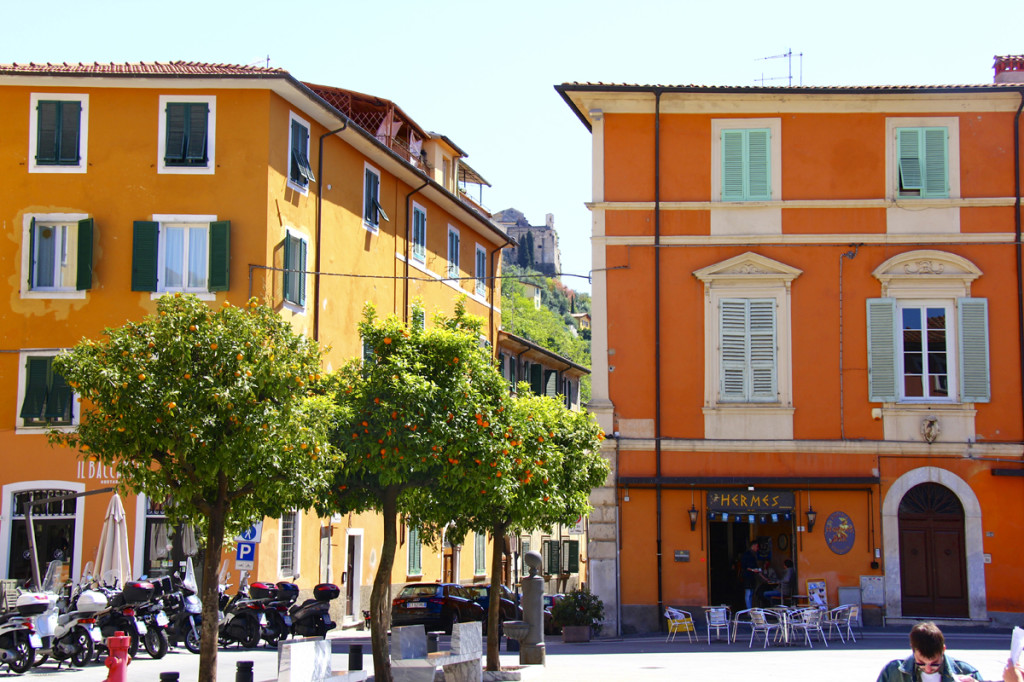 Some of the colorful buildings of Massa