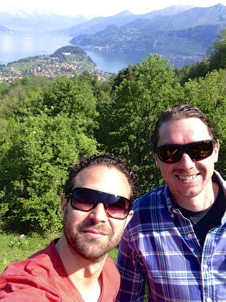 "Matt and I pulled over for a ""selfie"" on the way to get his camera.  Bellagio is the peninsula behind us"